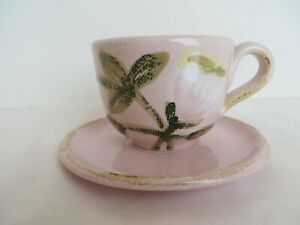 New Vietri Potttery Pink White Tulip Cup & Saucer