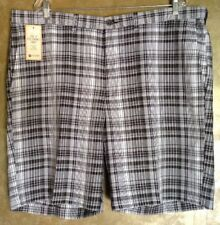 Haggar Cool 18 Classic-Fit Flat-Front Black & White Plaid Shorts..Size 42
