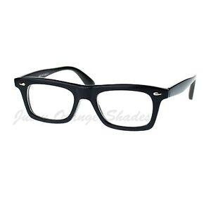 Black Rectangular Clear Lens Glasses Thick Horn Rim Frame Eyeglasses