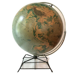 """World Globe Double Axis AJ Nystrom Mid Century Modern Pictorial Relief 16"""" Vtg"""