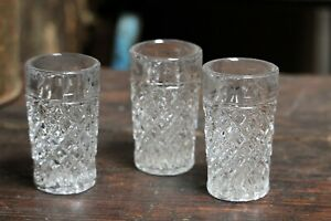 Vintage Glass Cups 3 Small Clear Sherry Liquor Shot Glasses Vintage Barware