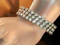 Sparkly Hong Kong Vintage 50's Prong Set Rhinestone Expansion Bracelet 205JL5