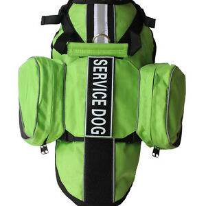 Service Dog BACKPACK Harness vest Removable Saddle Bags Pockets 2 label Patches