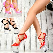 Damen High Heels Plateau Hot LACK Schuhe Club-Party GOGO TRANSPARENT SeXy K36