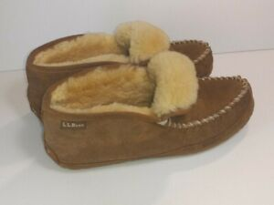 LL BEAN Womens Wicked Good Moccasin Shearling Lined Slippers Venetian Size 10 M
