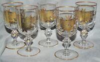 5 Sherrygläser Bleikristall, Golddekor und -rand