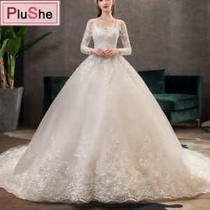 Women Elegant Princess Luxury Lace Wedding Dress 100cm Long Sleeves Appliques US