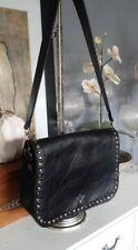 Patricia Nash Vitellia Flap Studded Black Leather Messenger Shoulder Bag