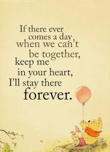 WINNIE THE POOH Inspirational Quote Friends Home Decor Art Unframed Chic Print