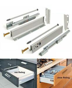 Schubladensystem Schublade Schubkasten Modern Box C-Hoch mit Reling Grau | Weiß