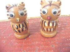 VINTAGE RETRO 60'S HAND PAINTED WOODEN OWL SALT & PEPPER POTS CORK BUNGS