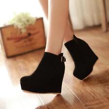 Women Winter Elegant Suede Wedge Shoes Wedges High Heels Platform Ankle Boots L