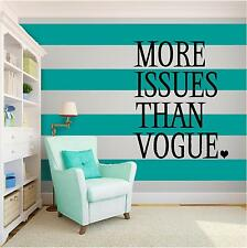 VOGUE FASHION Vinyl Wall Art quote Home Family Decor Decal Word & Phrase BLACK