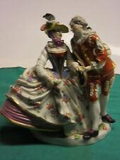 "Antique Meissen Gentleman & lady in fine dress figurine 1870 aprox. 7 3/4""tall"
