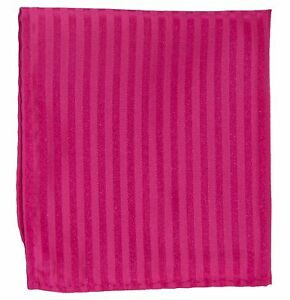 New Men's Poly Woven pocket square hankie only hot pink tone on tone stripes