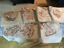 New listing Vintage Days of the Week Flour Sack Towels Hand Embroidered Chicks