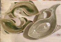 Vintage Handmade Set of 3 Ceramic Fish Dishes Nut Bowl Tidbit Plate Spoon Rest