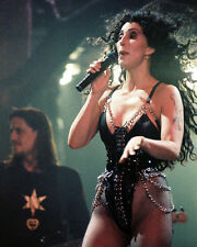 CHER 8X10 PHOTO IN CONCERT CHAINS BLACK LEATHER COSTUME