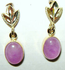 Pink Quartz Gemstone 14k Gold Drop Dangle Earrings - NEW