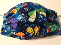Adult Bumble Bee Snail Bugs Adjustable Handmade Cotton Fabric Face Mask Washable