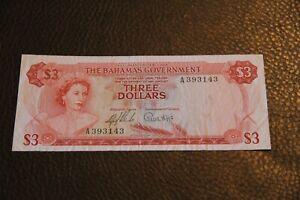 1965 BAHAMAS THREE  DOLLARS NOTE P 19