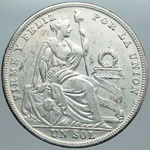 1924 PERU South America 1 SOL Antique BIG Original Silver Peruvian Coin i88952