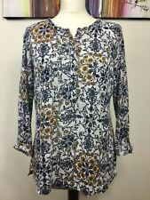WHITE STUFF PURE LINEN GREY BLUE TAUPE BAROQUE FLORAL JUMPER TOP SIZE 12 PAISLEY