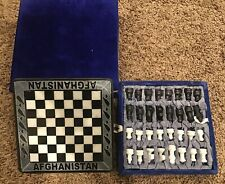 Afghanistan Hand Crafted Marble Chess Set Made In Afghanistan Felt Case Novelty