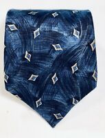 FERRELL REED Blue & Yellow Geometric Print 100% Silk Mens Neck Tie Made in USA