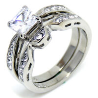 1 Ct Princess Cut CZ Womens 316 Stainless Steel Wedding Anniversary Ring Set