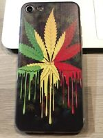 Coque Protection neuve Iphone 7 ou Iphone 8 silicone Feuille peinture weed