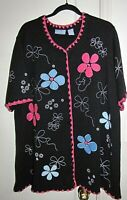 Liz & Me sweater cardigan women novelty blue pink floral applique black 2X - 3X