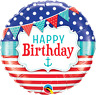 """BIRTHDAY NAUTICAL AND PENNANTS FOIL BALLOON 18"""" BIRTHDAY PARTY SUPPLIES"""
