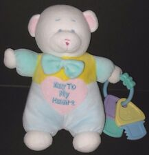 Carters Key to My Heart Bear White Pastel Velour Plush Baby Toy Plastic Key Ring