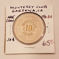 Vintage Monterey Club Gardena CA $.10 casino Poker Chip $65 Reno Las Vegas