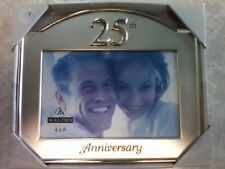 "New Malden 25th Anniversary Glass Picture Frame 4x6"" Clear Glass Silver Design"