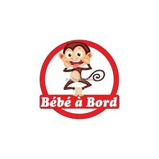 Decal Sticker auto car Baby à bord Singe16x16cm ref 3574