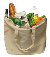 Earthwise Organic Cotton Reusable Grocery Shopping Bags LRG Machine Wash (4 pcs)