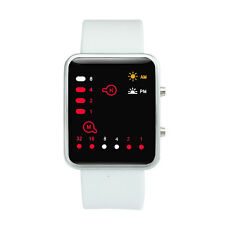 Women Mens Digital Watch Red LED Silicone Sports Watch Binary Casual Wristwatch