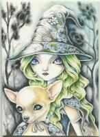 ACEO S/N L/E GOTHIC WITCH HALLOWEEN CHIHUAHUA DOG WOODS MEDIEVAL PRINT LISTED