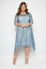 YOURS LONDON Blue Polka Dot Midi Dress With Cowl Neck UK 24 US 20 EUR 48  (WB92)
