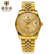 HOLUNS Men Quartz Wrist Watches Back Light Date Water Resistant Stainless Steel
