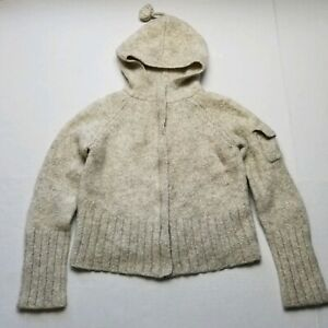Banana Republic Girls Sweater sz S Mohair Wool Blend Full Zipper Front Beige E80