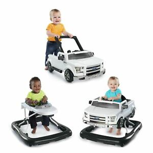 Bright Starts 3 Ways to Play Ford F-150 Baby Walker with Activity Station, White