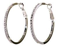 "Swarovski Elements Crystal 1 1/2"" Fine Hoop Earrings Rhodium Authentic New 7217w"