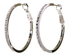 "Swarovski Elements Crystal 1 1/2"" Fine Hoop Pierced Earrings Rhodium New 7217x"