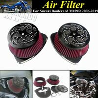 High Flow Dual Intake Air Cleaner Filter Kit For Suzuki Boulevard M109R 2006-19