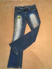 Southpole Authentic Jeans Sz 5 x 31 Embroidered Fade & Patches Blue Denim Cute