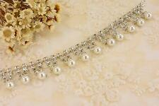 Vintage Dangle Pearl Crystal Chain Applique Rhinestone Trim Wedding Accessories