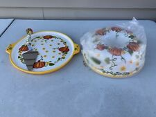 New listing New Temptations by Tara Pumpkin Patch 4 piece Bundt Cake Pan Lid and Server